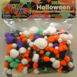 POM-POMS ASST'D SIZE AND COLOR IN PACK  300 ct. HALLOWEEN