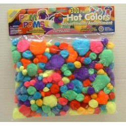 POM-POMS ASST'D SIZE AND COLOR IN PACK  300 ct. HOT COLORS