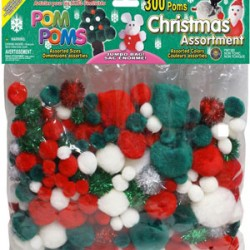 POM-POMS ASST'D SIZE AND COLOR IN PACK  300 CT. CHRISTMAS