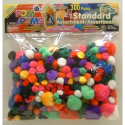 POM-POMS ASST'D SIZE AND COLOR IN PACK  300 ct. STANDARD