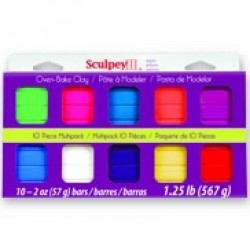 SCULPEY III MODELING COMPOUND 10-2OZ BARS BRIGHT COLOR SET