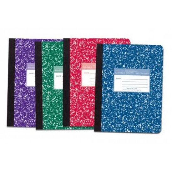"""COMPOSITION BOOK MARBLE COVER COLORS 9 3/4"""" X 7 1/2"""" 100 ct. mead"""