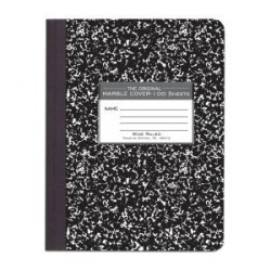 "COMPOSITION BOOKS MARBLE COVER BLACK  9 3/4"" X 7 1/2"" 100 ct."