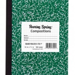 "COMPOSITION BOOK QUAD 5X5 9.75""x7.5"" ROARING SPRING 100 ct"