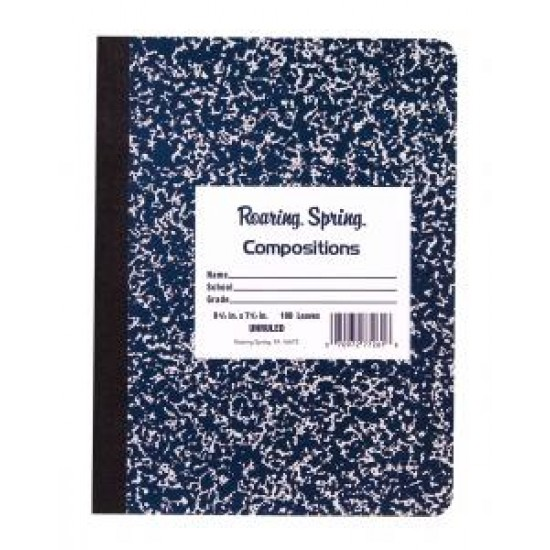 COMPOSITION BOOK MARBLE BLANK PAGES MARBLED COVER   100 ct.