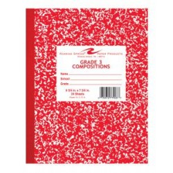 "COMPOSITION BOOK GRADE 3 RULED 24 ct RED       9.75"" X 7.75"""