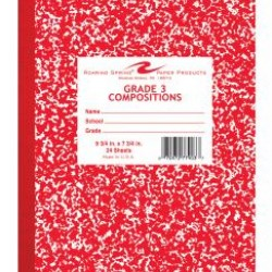 "COMPOSITION BOOKS GRADE 3 RULED RED      9.75"" X 7.75""  24 ct"