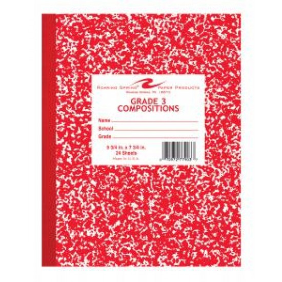 """COMPOSITION BOOK GRADE 3 RULED 24 ct RED       9.75"""" X 7.75"""""""
