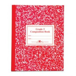 "COMPOSITION BOOK GRADE 3 RULED 50 ct RED       9.75"" X 7.75"""
