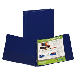 "BINDER SAMSILL HARD VINYL WITH POCKETS   1"" BLUE"