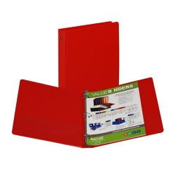 "BINDER SAMSILL HARD VINYL WITH POCKETS   1"" RED"