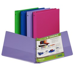 "BINDER SAMSILL HARD VINYL WITH POCKETS   1"" ASSORTED FASHION COLORS"