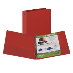 "BINDER SAMSILL HARD VINYL WITH POCKETS   1 1/2"" RED"