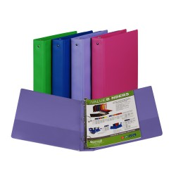 "BINDER SAMSILL HARD VINYL WITH POCKETS   1 1/2"" ASSORTED FASHION COLORS"