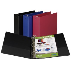 "BINDER SAMSILL HARD VINYL WITH POCKETS  3""  ASST'D"