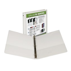 "BINDER SAMSILL INSERTABLE VIEW COVER  1/2"" WHITE"