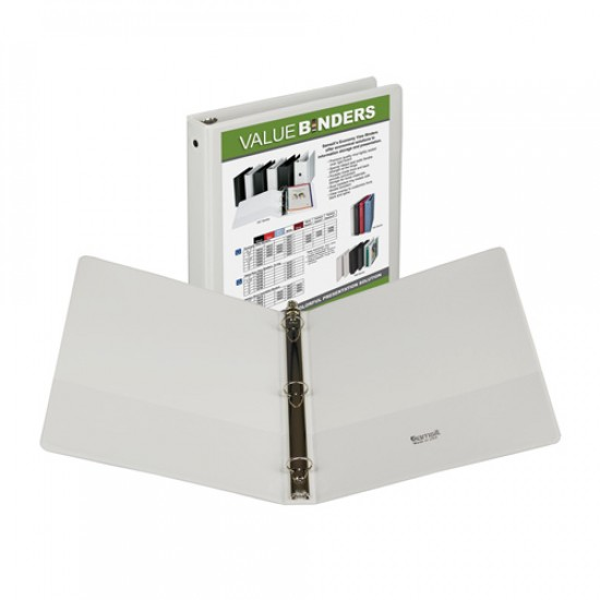 "BINDER SAMSILL INSERTABLE VIEW COVER   1""  WHITE"