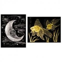 "SCRATCH-ART PAPER GOLD AND SILVER   8 1/2"" X 11"" 10ct"