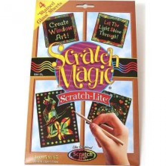 """SCRATCH-LITE  """"STAINED GLASS""""  SHEETS  8""""X 9.75""""  30 CT."""