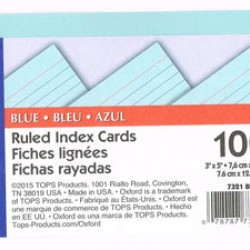 "INDEX CARDS 3""X5"" RULED OXFORD BLUE 100CT"