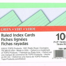 "INDEX CARDS 3""x5"" RULED OXFORD GREEN 100ct"