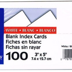"INDEX CARDS 3""x5"" BLANK OXFORD WHITE 100ct"