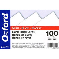 "INDEX CARDS 4""x6"" BLANK OXFORD 100 ct"