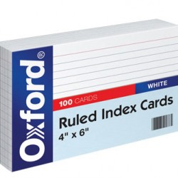 "INDEX CARDS 4""X6"" RULED WHITE OXFORD 100 CT"