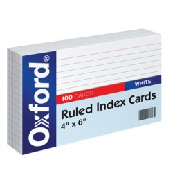 "INDEX CARDS 4""X6"" RULED OXFORD WHITE  100 CT"
