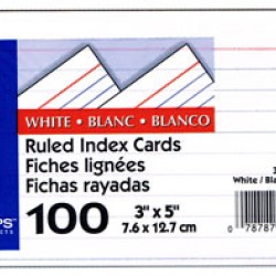 "INDEX CARDS 3""x5"" RULED OXFORD WHITE 100ct"