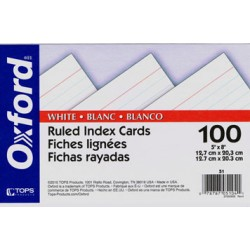 """INDEX CARDS 5""""x8"""" RULED WHITE  100ct OXFORD"""