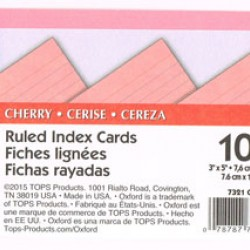 "INDEX CARDS 3""x5"" RULED OXFORD CHERRY 100ct"