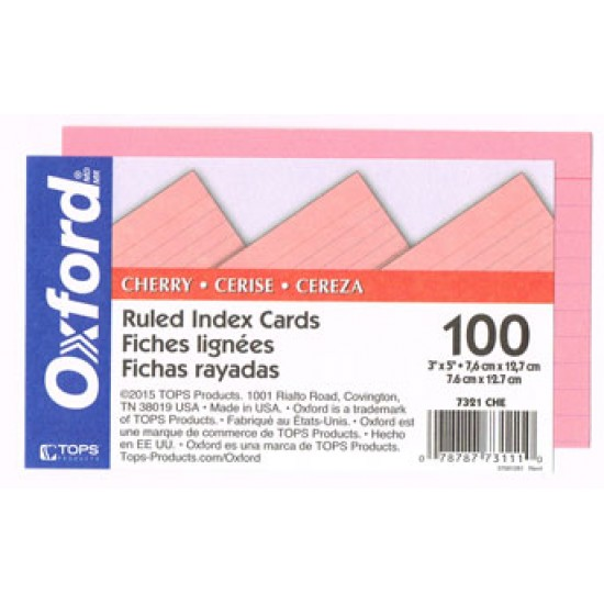 Oxford Ruled Color Index Cards Cherry 3 x 5 100 Per Pack 7321 CHE