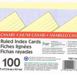 "INDEX CARDS 3""X5"" RULED OXFORD CANARY 100CT"