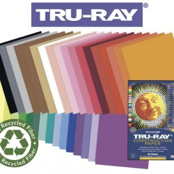 "CONSTRUCTION PAPER TRU-RAY SULPHITE 18"" X 24"" ASSORTED COLORS 50ct"