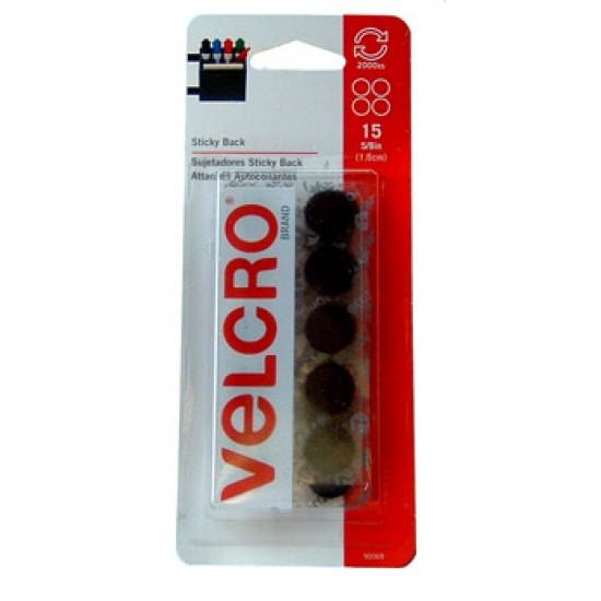 "VELCRO STICKY BACK  Circles 15ct 5/8"" Black"