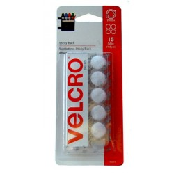 "VELCRO STICKY BACK COIN SETS 15ct 5/8"" WHITE"