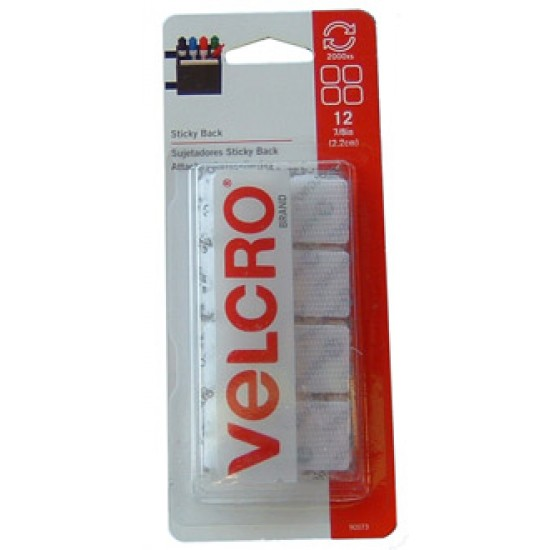 "VELCRO STICKY BACK SQUARES 7/8"" 12ct White"