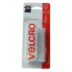 "VELCRO STICKY BACK STRIPS 3 1/2"" X 3/4"" 4ct WHITE"
