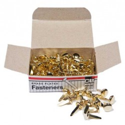 """PAPER FASTENERS ROUND HEAD BRASS PLATED 1/2"""" 100ct"""