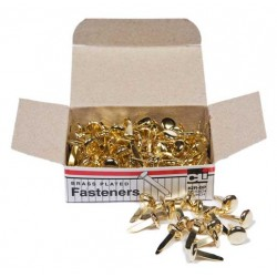 "PAPER FASTENERS ROUND HEAD BRASS PLATED 1/2"" 100ct"