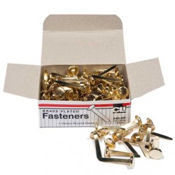 """PAPER FASTENERS ROUND HEAD BRASS PLATED 1"""" 100ct"""