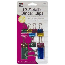 BINDER CLIPS METALLIC AST'S SIZES AND COLORS 12ct CLI BRAND
