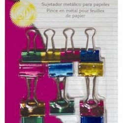 BINDER CLIPS METALLIC ASSORTED SIZES AND COLORS 12ct CLI BRAND
