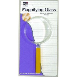 "MAGNIFYING GLASS - ASSORTED COLORS 2"" LENS-MAGNIFIES 2X"