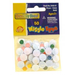 WIGGLE EYES ROUND 12mm 50ct. MULTI