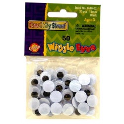 WIGGLE EYES ROUND 12mm 50ct. BLACK