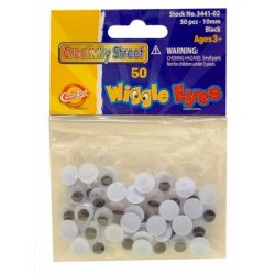WIGGLE EYES ROUND 10mm 50ct.  BLACK