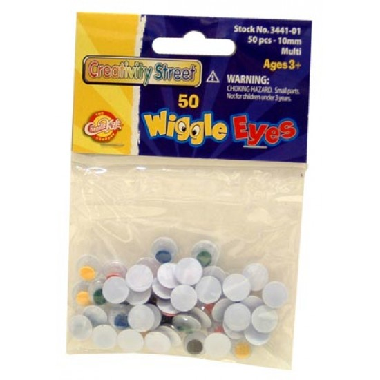 WIGGLE EYES ROUND 10mm 50ct.  MULTICOLOR