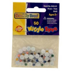 WIGGLE EYES ROUND 7mm 50ct.  MULTI